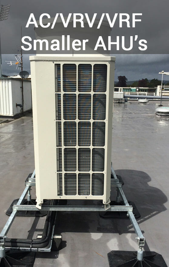 Flexi rooftop support frame with a condensing unit mounted.